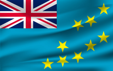 Realistic waving flag of the Waving Flag of Tuvalu, high resolution Fabric textured flowing flag,vector EPS10