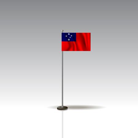 Flag Illustration of the country of SAMOA. National SAMOA flag isolated on gray background. Vector. EPS10