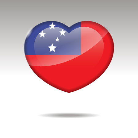 Love SAMOA symbol. Heart flag icon. Vector illustration