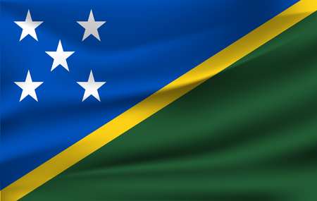Realistic waving flag of the Waving Flag of Solomon Islands, high resolution Fabric textured flowing flag,vector EPS10