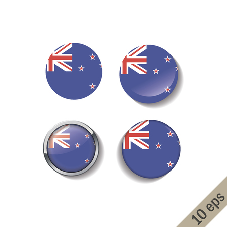 Set of NEW ZEALAND flags round badges. Vector illustration. 10 eps