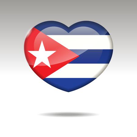 Love CUBA symbol. Heart flag icon. Vector illustration