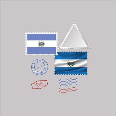 EL SALVADOR flag postage stamp set, isolated on gray background.