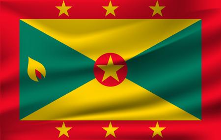 Realistic waving flag of the Waving Flag of Grenada, high resolution Fabric textured flowing flag,vector EPS10 Illusztráció
