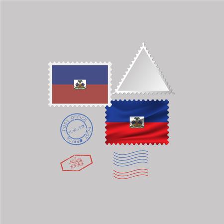 HAITI flag postage stamp set, isolated on gray background.