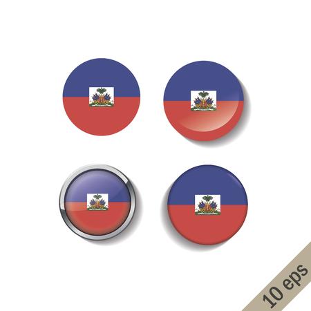 Conjunto de insignias redondas de banderas de Haití. Ilustración vectorial. 10 eps