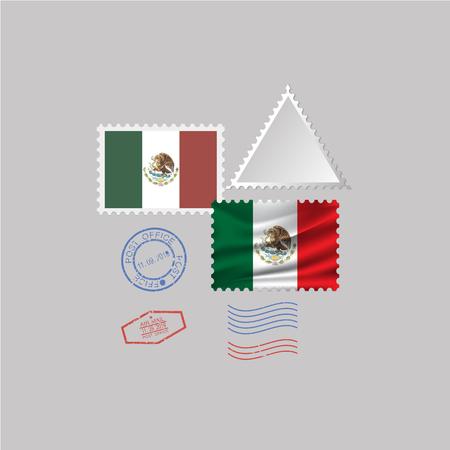 MEXICO flag postage stamp set, isolated on gray background Çizim