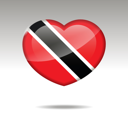 Love TRINIDAD AND TOBAGO symbol. Heart flag icon.