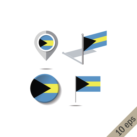 Map pins with flag of THE BAHAMAS Illustration