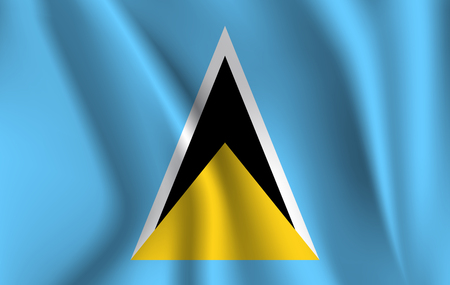 Realistic waving flag of the Waving Flag of Saint Lucia, high resolution Fabric textured flowing flag,vector EPS10