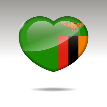Love ZAMBIA symbol. Heart flag icon. Vector illustration.