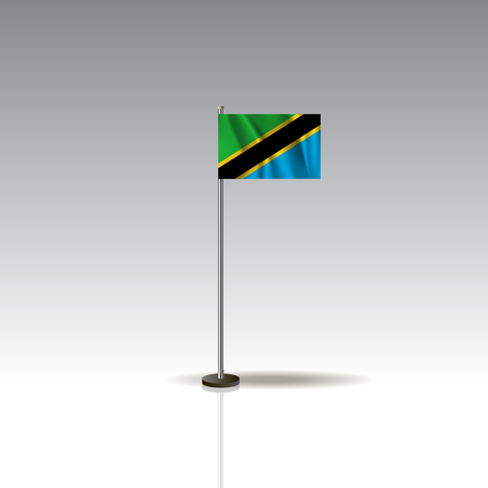 Desktop flag vector image. National TANZANIA flag isolated on gray background. EPS10