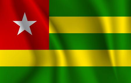 Flag of Togo. Realistic waving flag of Togolese Republic.