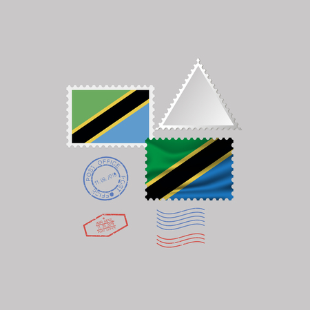 TANZANIA flag postage stamp set, isolated on gray background, vector illustration. 10 eps