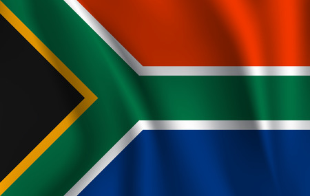 Realistic waving flag of Republic of South Africa. Fabric textured flowing flag of South Africa. Imagens