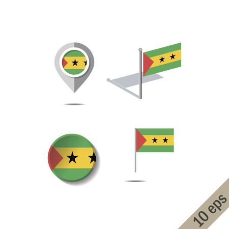 Map pins with flag of SAO TOME AND PRINCIPE - vector illustration Ilustração Vetorial