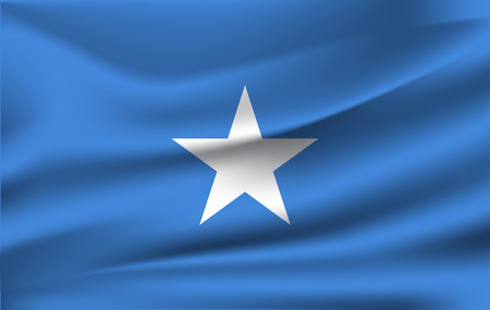 Realistic waving flag of Federal Republic of Somalia. Fabric textured flowing flag of Somalia. Foto de archivo - 116544303