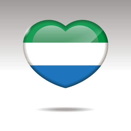Love SIERRA LEONE symbol. Heart flag icon. Vector illustration. Imagens