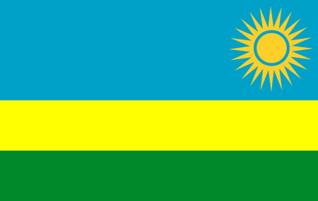 Flag of Rwanda. Vector illustration. Ilustrace