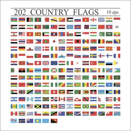 Flagi świata wszystkie wektor kolor na białym tle. Ilustracja wektorowa 10 eps Ilustracje wektorowe