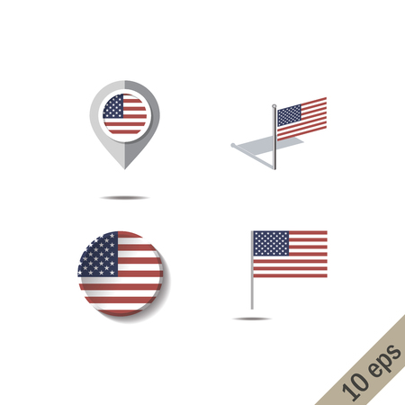 Map pins with flag of UNITED STATES OF AMERICA - vector illustration