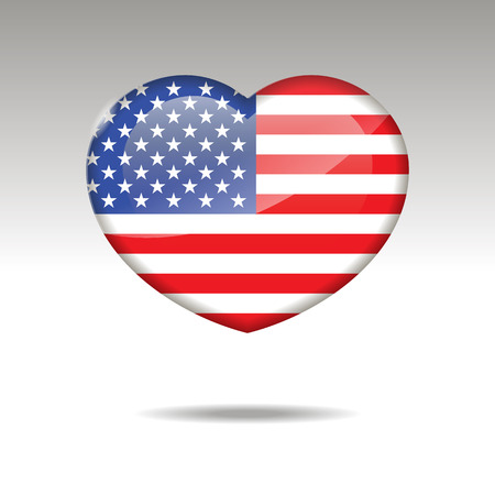 Love UNITED STATES OF AMERICA symbol. Heart flag icon. Vector illustration.