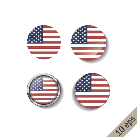 Set of UNITED STATES OF AMERICA flags round badges. Vector illustration. 10 eps 向量圖像