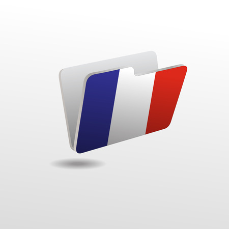 vector folders icons with France flags Vettoriali