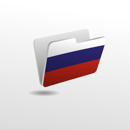 vector folders icons with Russia flags