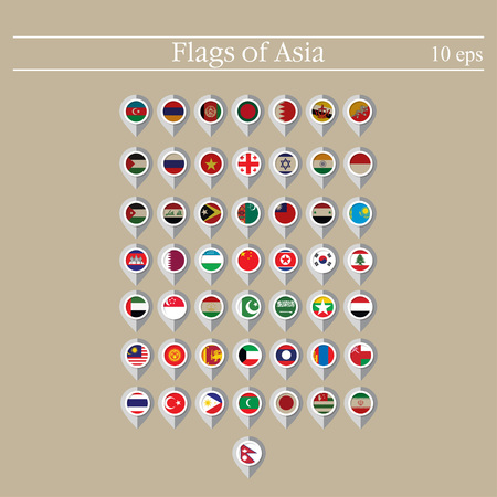 Map marker flags vector of the countries in flat style.