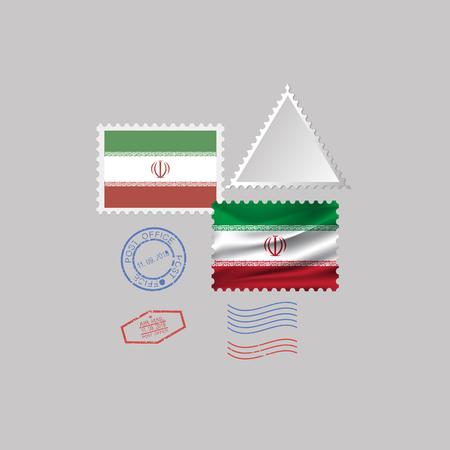 IRAN flag postage stamp set, isolated on gray background, vector illustration. 10 eps Çizim
