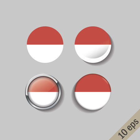 Set of INDONESIA flags round badges. Vector illustration. 10 eps