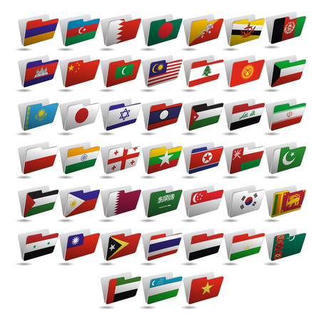 Set of vector folder icons with flags of Asia. Vettoriali