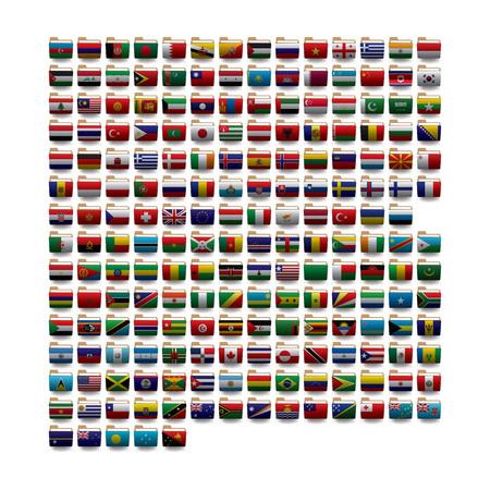Conjunto de iconos de carpetas vectoriales con banderas del mundo. 10 eps