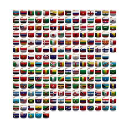 Zestaw ikon folderów wektorowych z flagami świata. 10 eps
