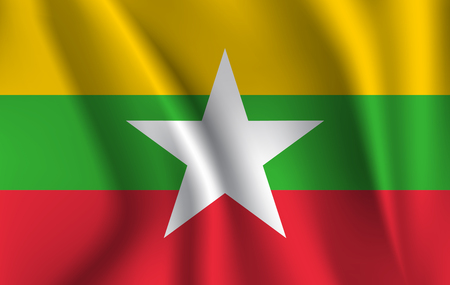 Flag of Myanmar. Realistic waving flag of Republic of the Union of Myanmar. Fabric textured flowing flag of Myanmar.