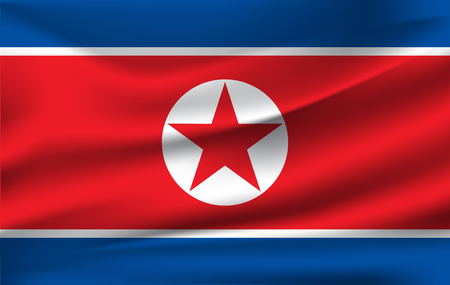 Flag of North Korea. Realistic waving flag of Democratic People's Republic of Korea. Fabric textured flowing flag of DPRK. Imagens - 119663052