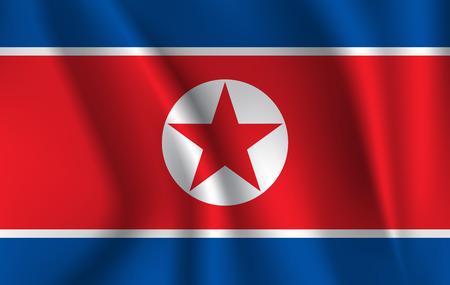 Flag of North Korea. Realistic waving flag of Democratic Peoples Republic of Korea.