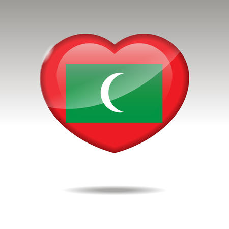 Love MALDIVES symbol. Heart flag icon. Vector illustration