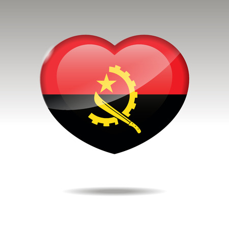 Love ANGOLA symbol. Heart flag icon. Vector illustration