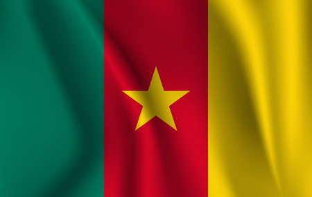 Realistic waving flag of Republic of Cameroon. Fabric textured flowing flag of Cameroon. Ilustração