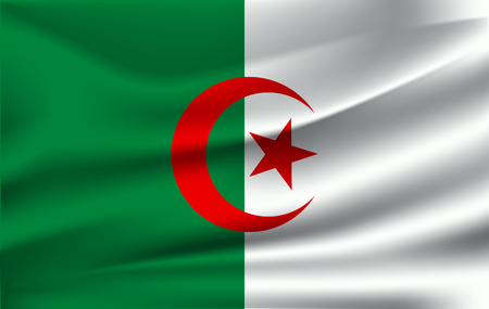 Realistic waving flag of People's Democratic Republic of Algeria. Fabric textured flowing flag of Algeria. 일러스트