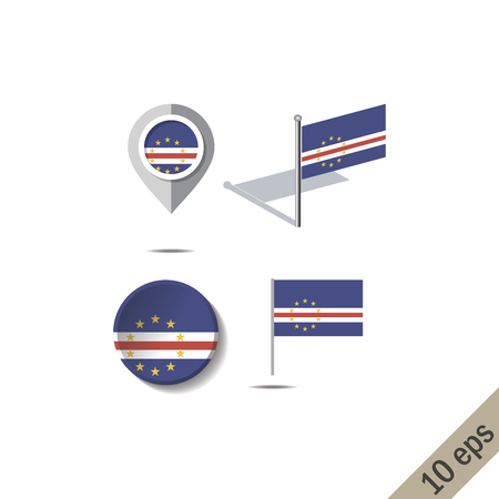 Map pins with flag of CAPE VERDE - vector illustration Vectores