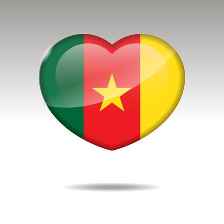 Love CAMEROON symbol. Heart flag icon. Vector illustration Ilustração
