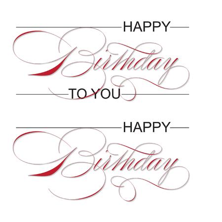 'happy birthday' hand lettering - handmade calligraphy, vector (eps8)