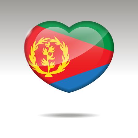 Love ERITREA symbol. Heart flag icon. Vector illustration