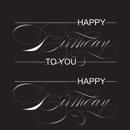 'happy birthday' hand lettering - handmade calligraphy, vector (eps8)