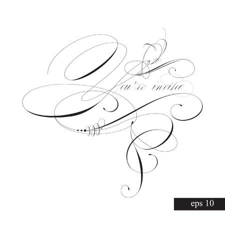 YOU'RE INVITED original custom hand lettering -- handmade calligraphy, vector (eps8); great for photo overlay or heading/ caption/ title for party invitations -- birthday, wedding, office party, etc Stock Vector - 124252790