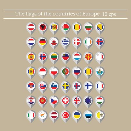 Kartenmarkierungsflaggenvektor der Länder im flachen Stil. Vektorgrafik