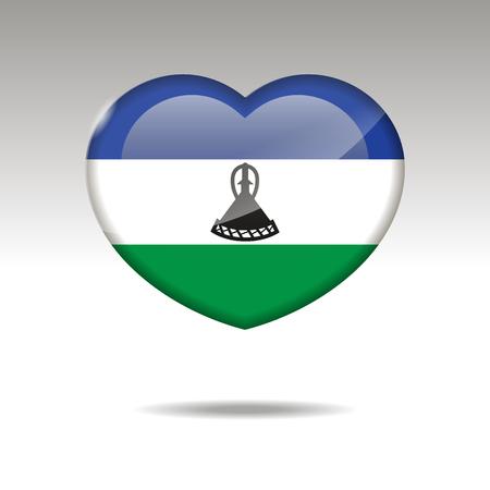 Love LESOTHO symbol. Heart flag icon. Vector illustration